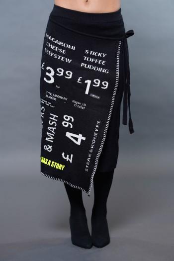 חצאית מידי סריג שחורה גזרה אסימטרית LIMITED
