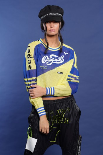 חולצת סריג בגווני צהוב וכחול  ORIGINAL