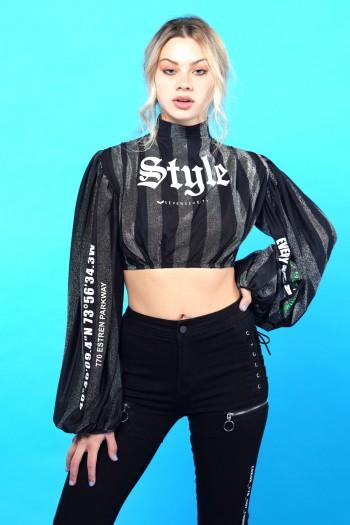 חולצת בטן פסים כסוף שחור STYLE