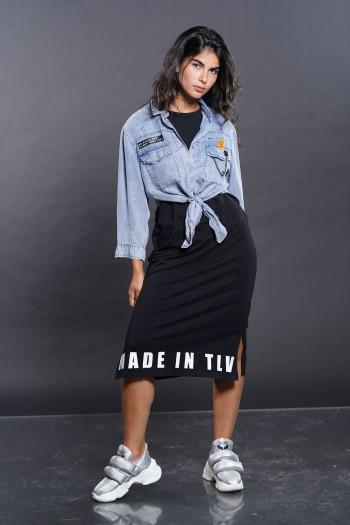 שמלה שחורה בשילוב עליונית ג'ינס TLV
