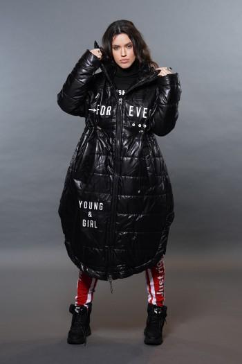 מעיל פוך מעוצב שחור ארוך FOREVER