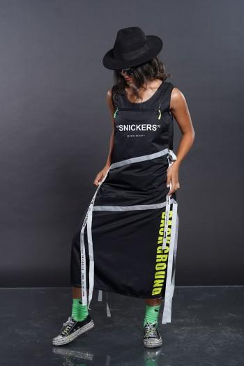 שמלה שחורה רצועות SNICKERS