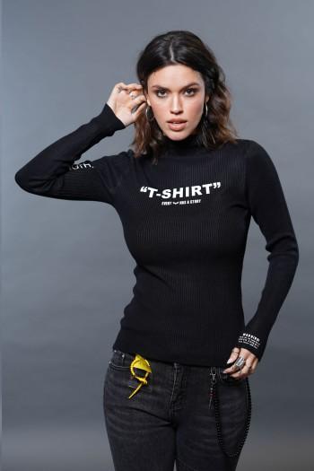 חולצת גולף שחורה T SHIRT