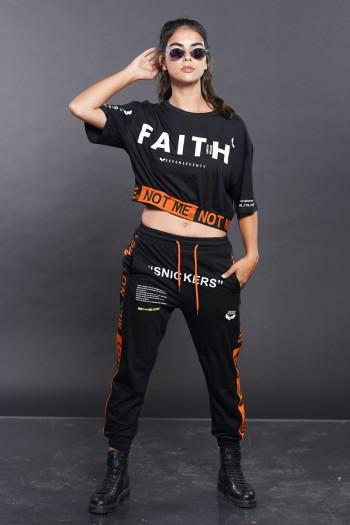 חליפת שני חלקים שחור כתום FAITH