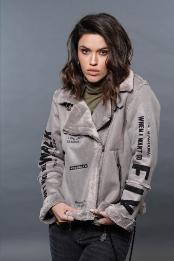 מעיל ג'קט אפור משולב דמוי עור הפוך ופרווה איכותיים FLY
