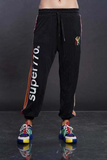 מכנסי ג'וגר שחורים פסי צד SUPER 770