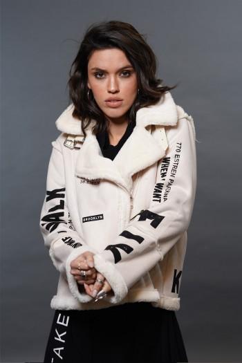 מעיל ג'קט שנהב משולב דמוי עור הפוך ופרווה איכותיים FLY