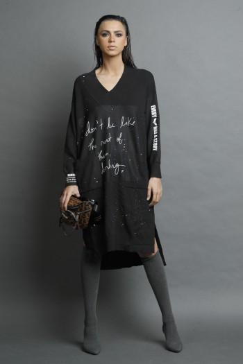 שמלת  סריג שחורה עם צעיף קפוצ'ון  DON'T
