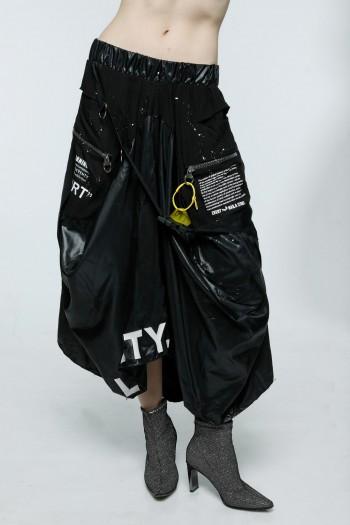 חצאית ארוכה שחורה שילוב ניילון LOYALTY