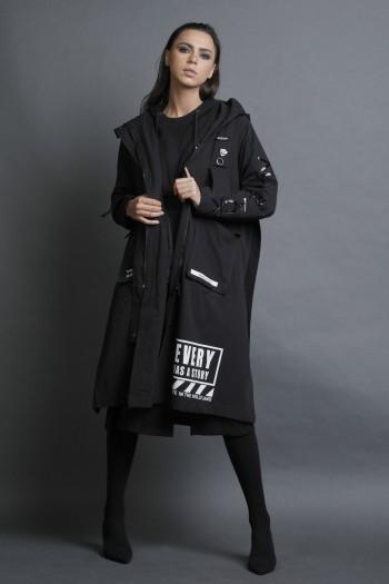 מעיל ג'קט ארוך בגוון שחור EVERY