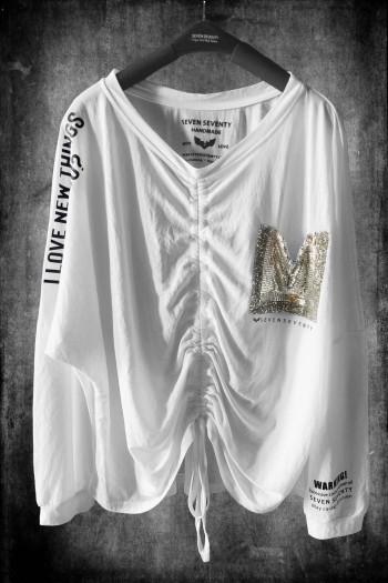 חולצה לבנה כיווץ גזרת עטלף   I LOVE