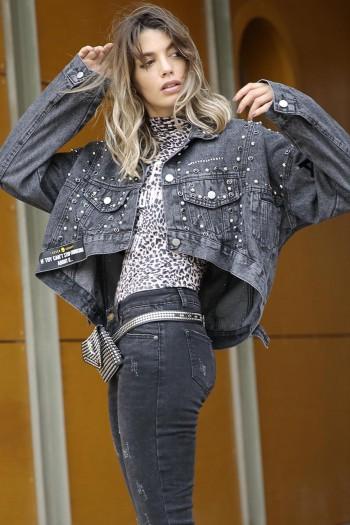 ג'קט ג'ינס ניטים שחור מעוצב ALL BLACK