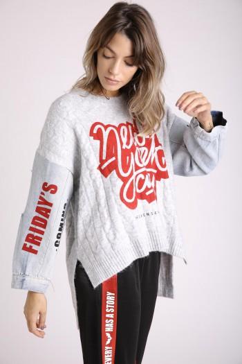 חולצת סריג אפורה בשילוב שרוולי ג'ינס NEW YORK