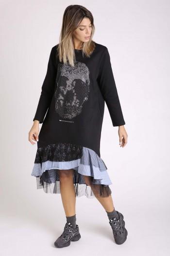 שמלה פוטר שחורה שילוב SKULL