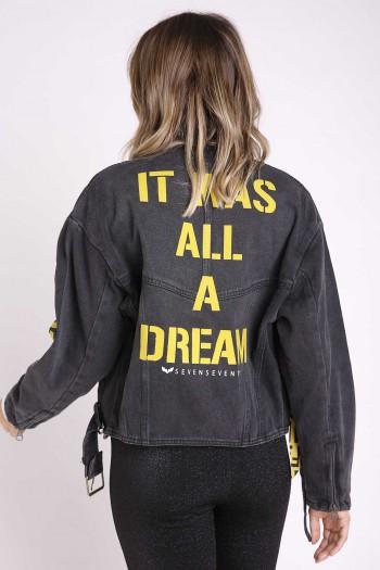 ג'קט ג'ינס שחור מעוצב DREAM
