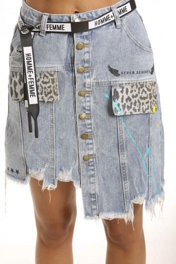חצאית מיני ג'ינס שילוב מנומר SEVEN