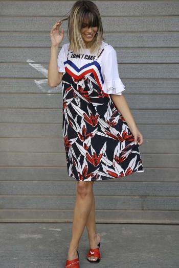 שמלה מיני פרחונית משולבת חולצה DON'T CARE