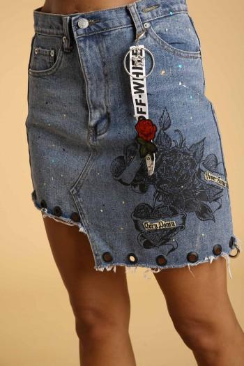 חצאית מיני ג'ינס מעוצבת ROSE