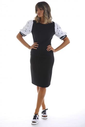 שמלת שחורה אלגנטית שרוול לבן STARS
