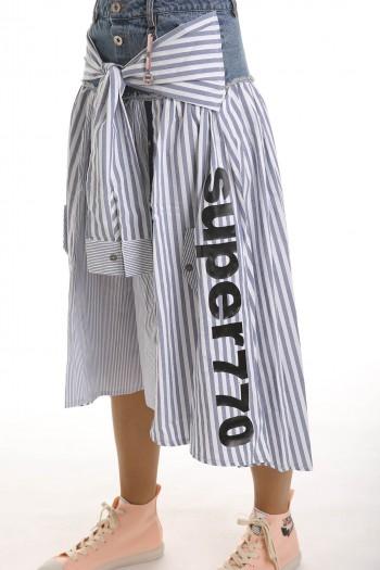 חצאית שילוב בדים תכלת ולבן THINK