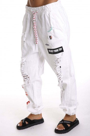 מכנסי ג'ינס לבנים קרעים SIMPLIFY