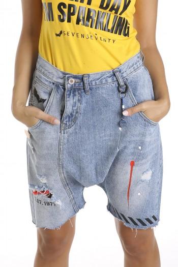 מכנסי ג'ינס קצרים בגזרה ייחודית COOL