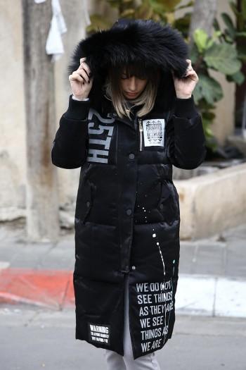 מעיל פוך שחור ארוך משולב פרווה WARNING