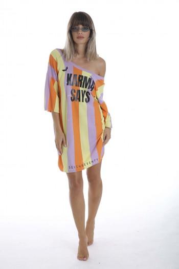 שמלת טוניקה פסים צבעונית KARMA
