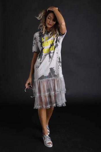 שמלת מוכתמת בשילוב טול SHINE