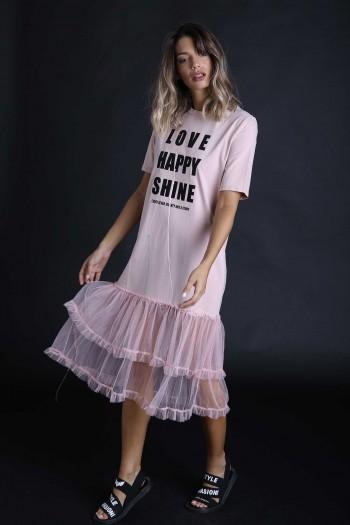 שמלה ורודה בשילוב טול SHINE