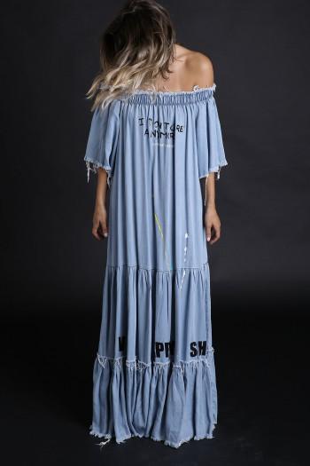 שמלת מקסי בוהו ג'ינס DON'T CARE