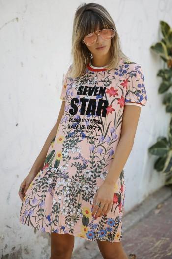 שמלה מיני פרחונית ורודה SEVEN STAR