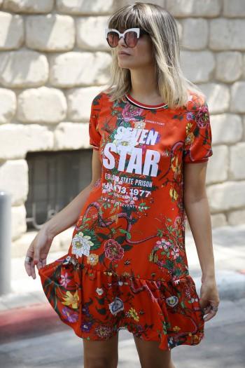 שמלה מיני פרחונית אדומה סאטן SEVEN STAR