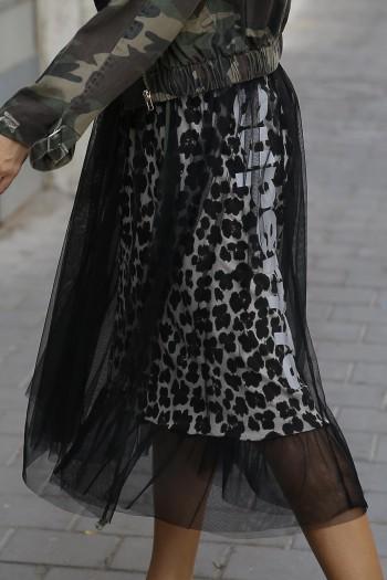 חצאית שכבות מנומרת טול ADVENTURE