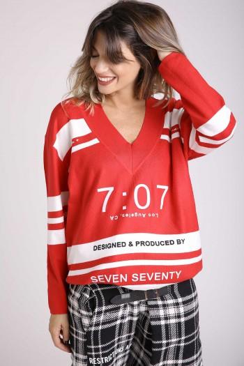 חולצת סריג בצבעי אדום ולבן שרוול ארוך DESIGNED