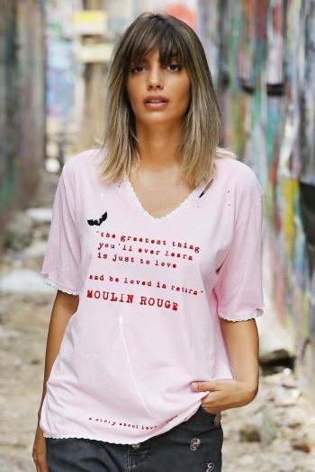 חולצת T ורודה קרעים LOVE
