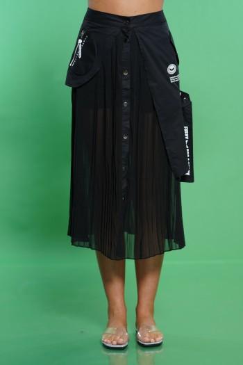 חצאית שחורה שילוב שיפון פליסה STORY
