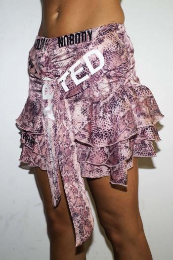 חצאית מיני שיפון הדפס מנוחש בגוונים ורודים NOBODY