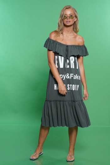 שמלה אפורה כתפיים מלמלה COPY