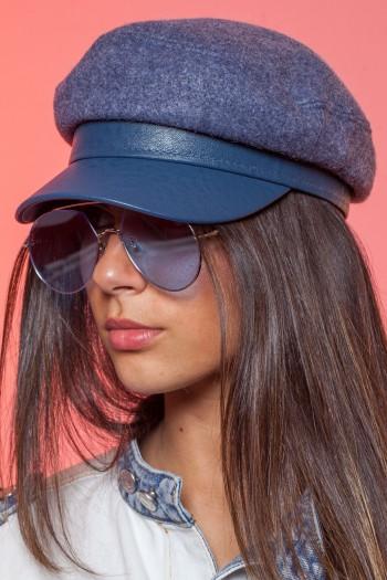 כובע כחול בשילוב צמר NEWSBOY