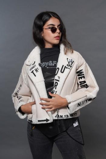 מעיל ג'קט משולב דמוי עור ודמוי פרווה איכותיים WHEN