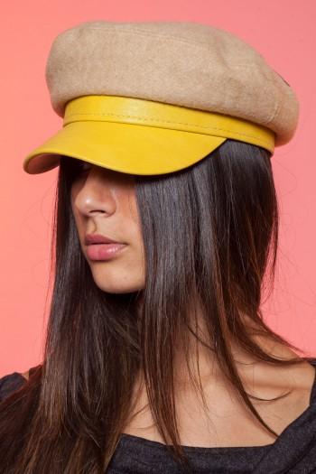 כובע צהוב בשילוב צמר NEWSBOY