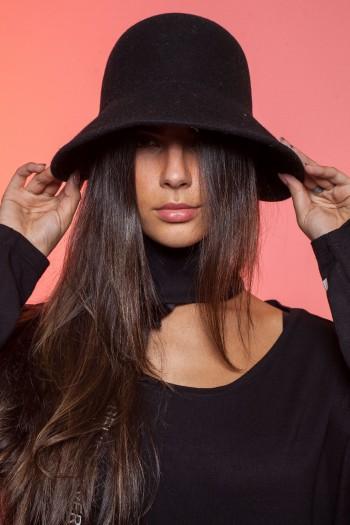 כובע שחור רחב שוליים BLACK