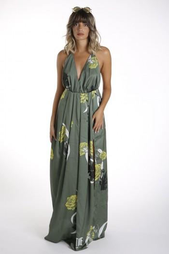 שמלה פרחונית אלגנטית ארוכה גב חשוף  ADVENTURE