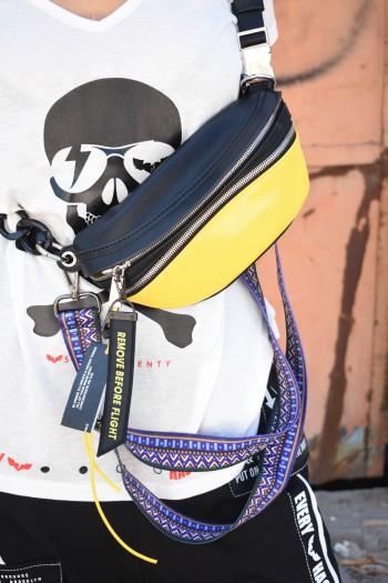 תיק צד פאוצ' צהוב שחור רוכסנים DO NOT