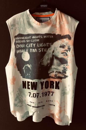 חולצה רחבה ללא שרוול טאי דאי ירוק כתום NEW YORK