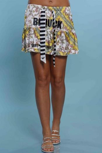 חצאית מיני צבעונית בגווני צהוב לבן QUICK