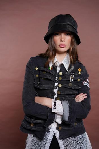 ג'קט ג'ינס שחור רצועות SKULL