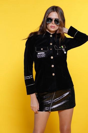 חולצה מכופתרת-ג'קט בגוון שחור WARNING