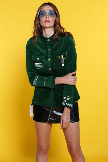 חולצה מכופתרת-ג'קט בגוון ירוק WARNING